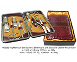 Manicure Set Stainless Steel 10pcs - Crocodile Leather Pouch