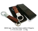 Brass Leather Keychain 2 Rings - bv